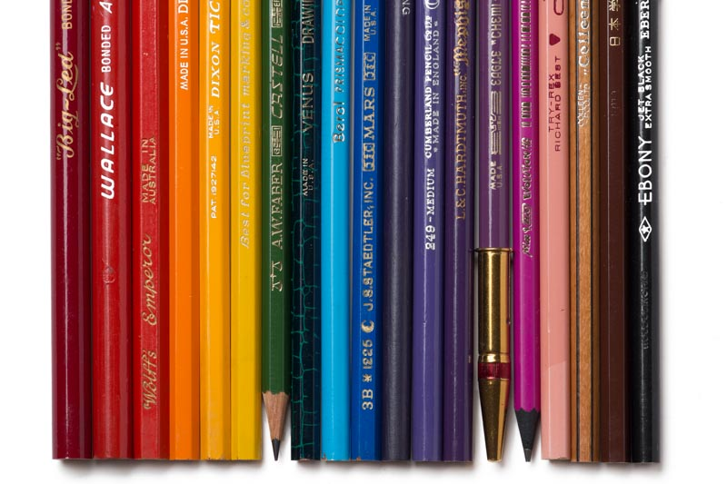 A rainbow of vintage pencils, almost entirely sourced from Bob Truby's Brand Name Pencils.