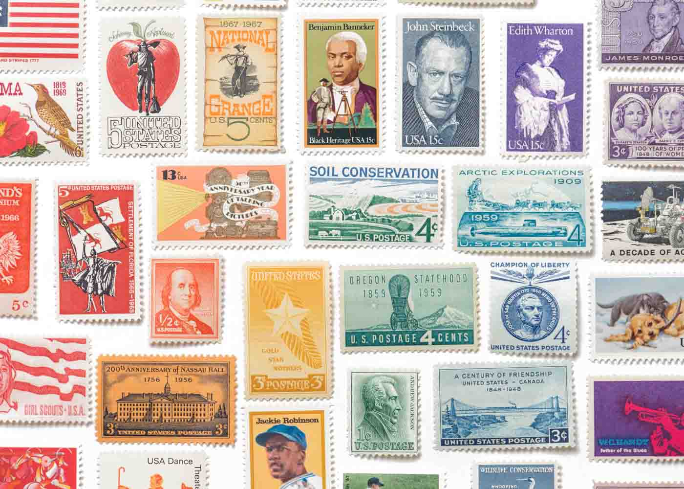 Vintage stamps - themed by color or topic - are a grand gift for the epistolarily inclined.