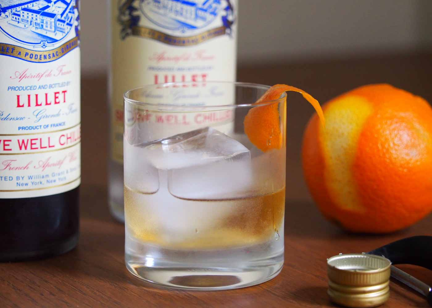 Lillet in a double old fashioned crystal glass by Schott Zwiesel.