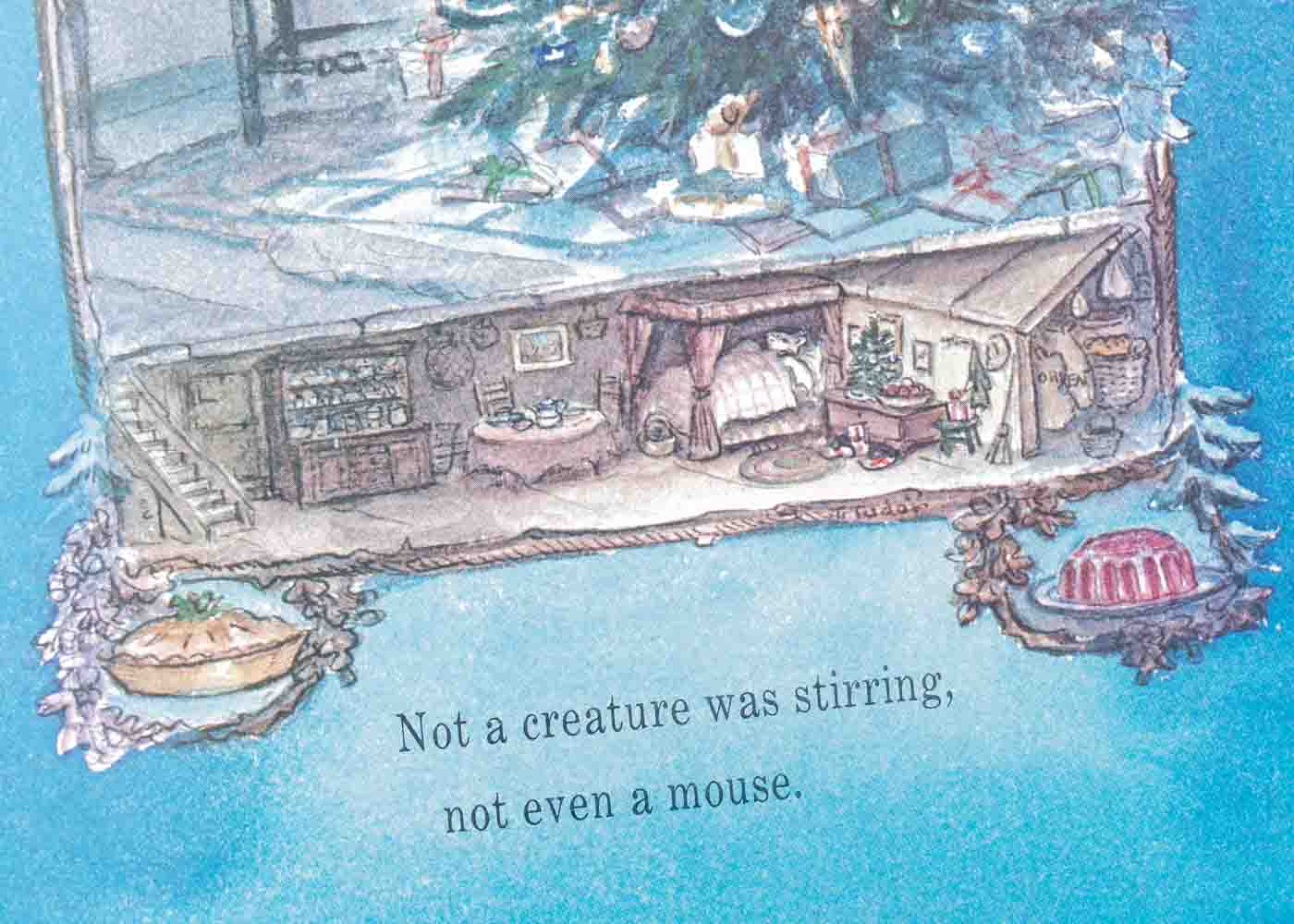 """A close-up on Tasha Tudor's wonderful illustration showing that """"not a creature was stirring, not even a mouse."""""""