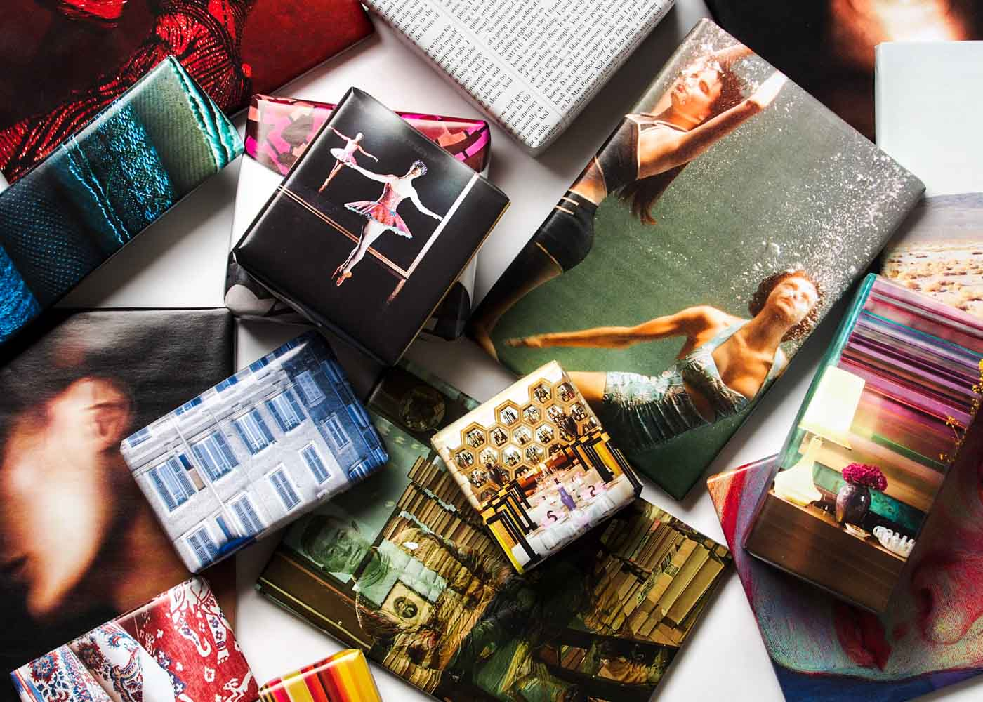 Gift wrapping with repurposed magazines.