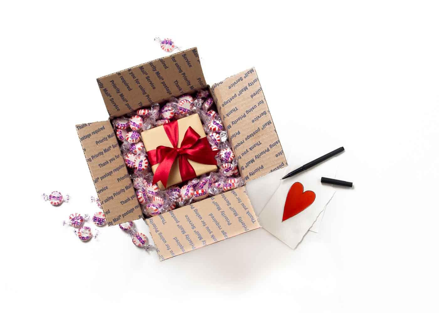 Mailing a gift? Consider substituting more traditional packing materials with your recipient's favorite candy.