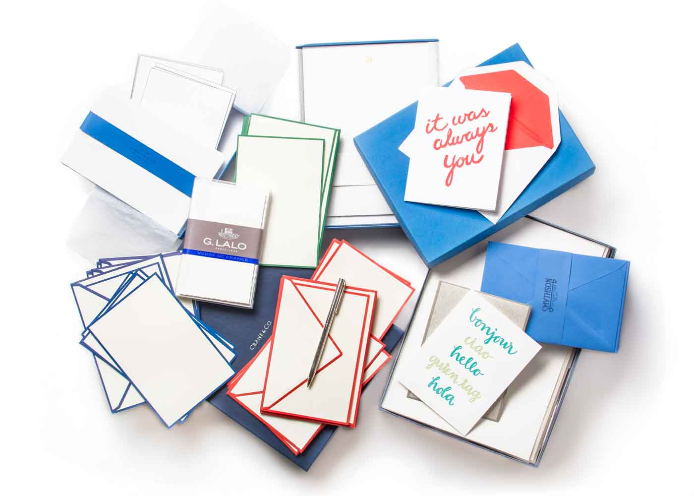 A sampling of notecards and writing paper from some of our favorite stationers.