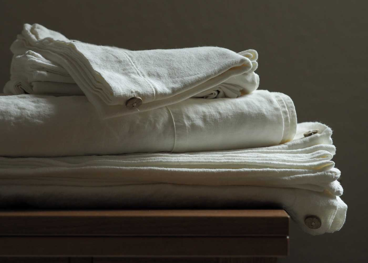 Linen sheets, like these from Rough Linen, are lovely for sleeping, especially in the summertime.