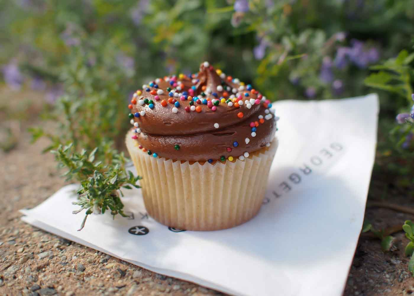 Milk chocolate birthday cupcake.