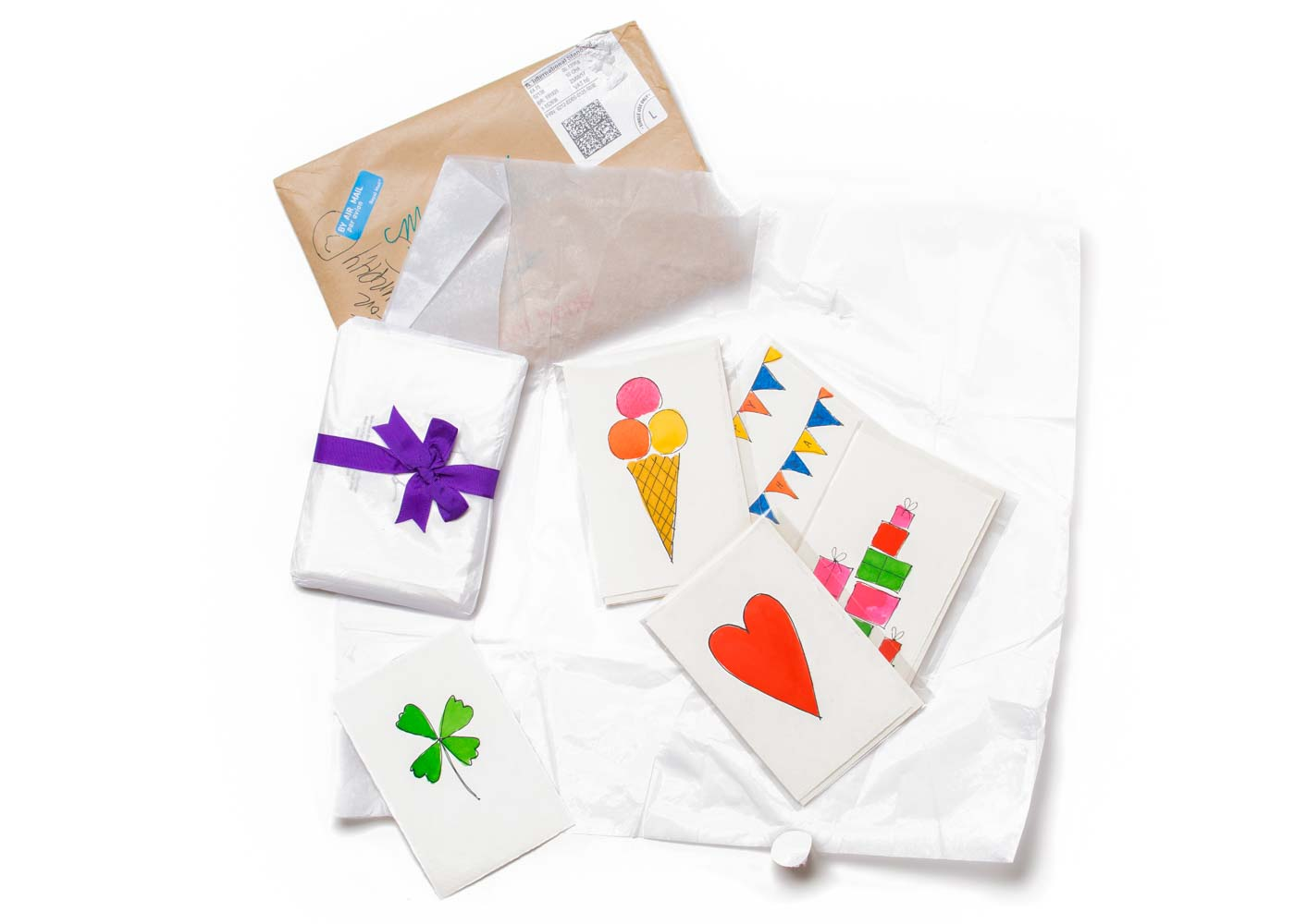 The lovely parcel of hand painted cards we received from Scribble & Daub.
