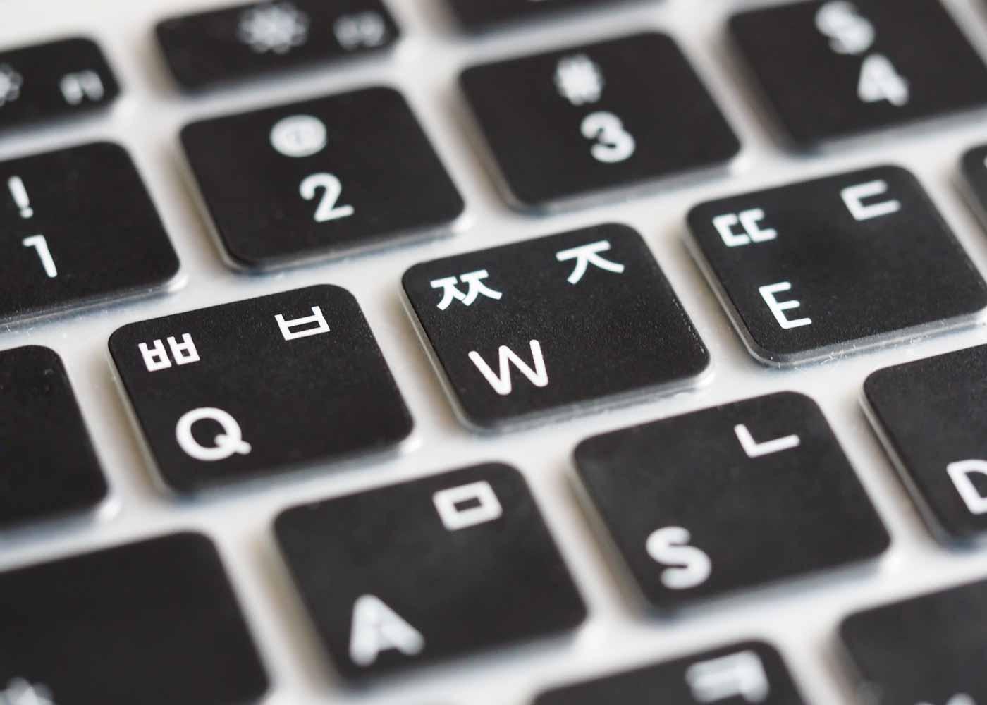 A Hangul (Korean) skin for an English keyboard.