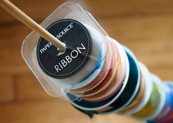Our finished ribbon dowel - it makes organization and storage super easy.