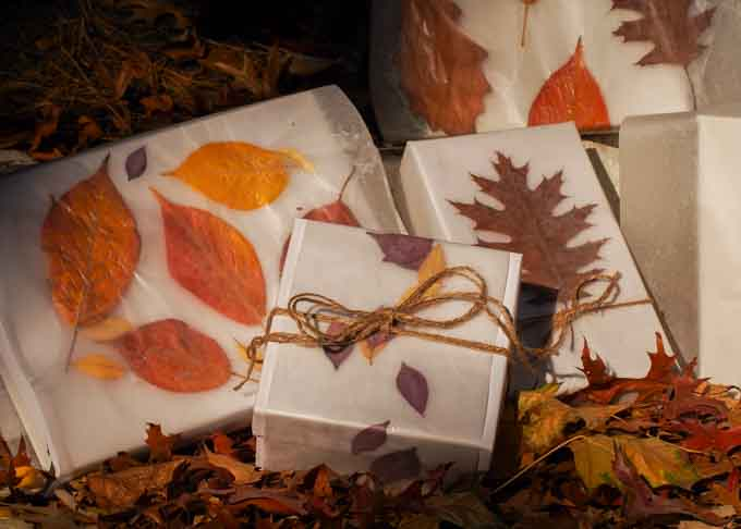 Gifts wrapped with autumn leaves sealed in wax paper.