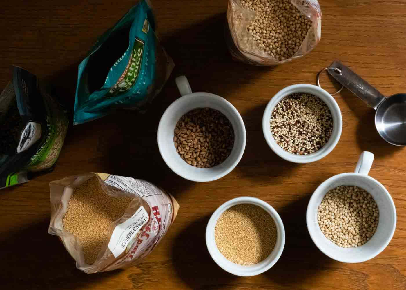 Prepping for our popping experiments with: amaranth, quinoa, sorghum and wheatberries.