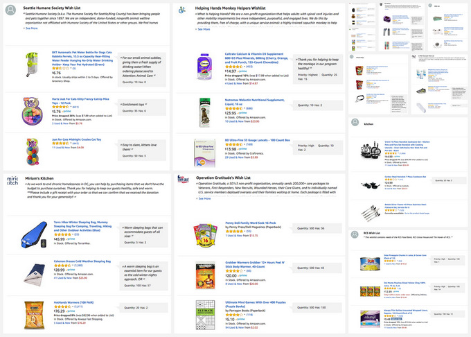 Twelve, highly-rated charities with Amazon wish lists.