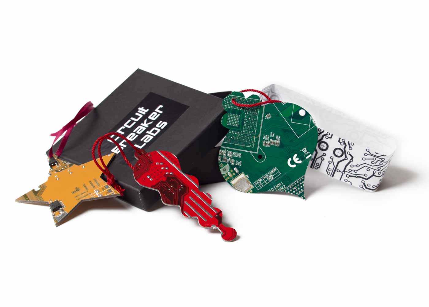 Circuit board ornaments by CircuitBreakerLabs.