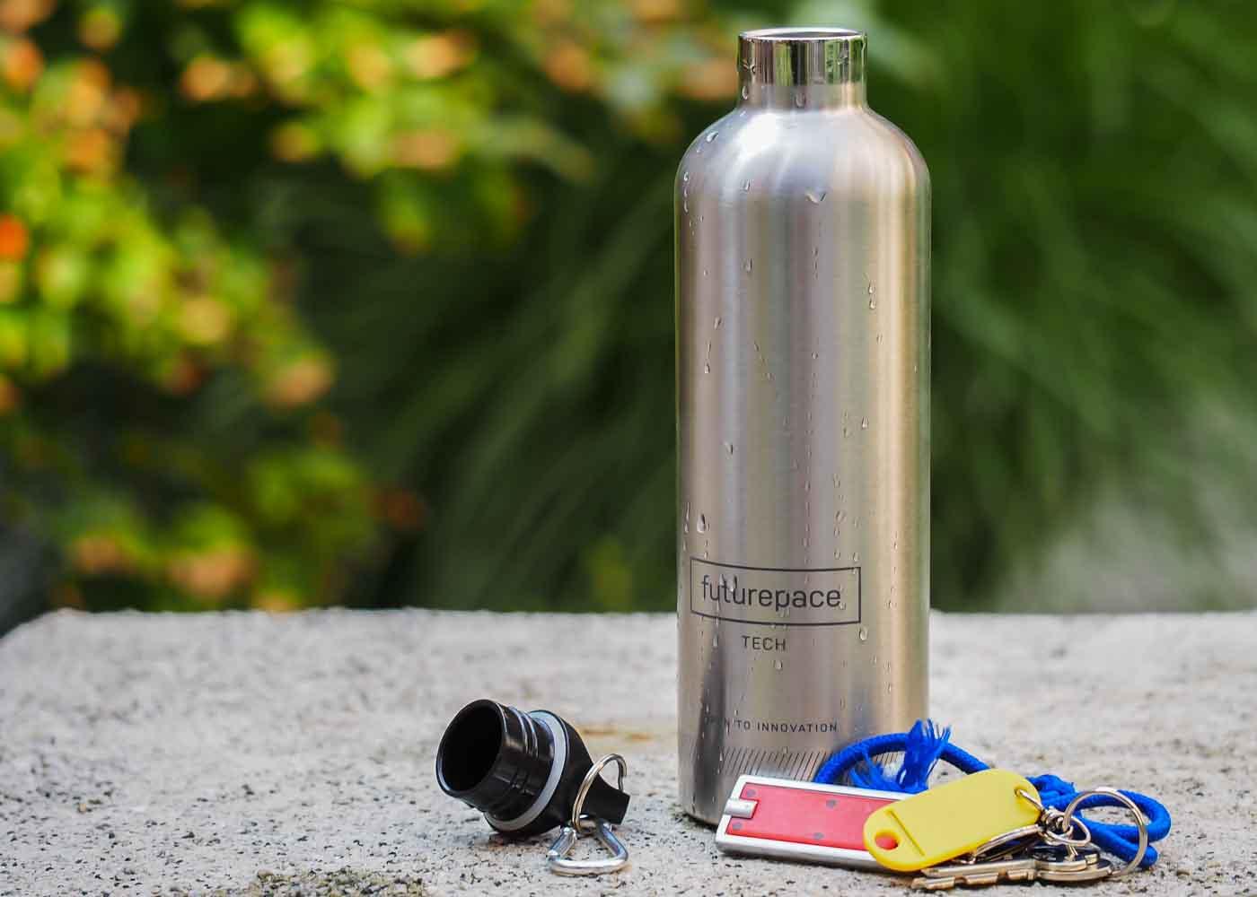 Futurepace Tech stainless steel water bottle.
