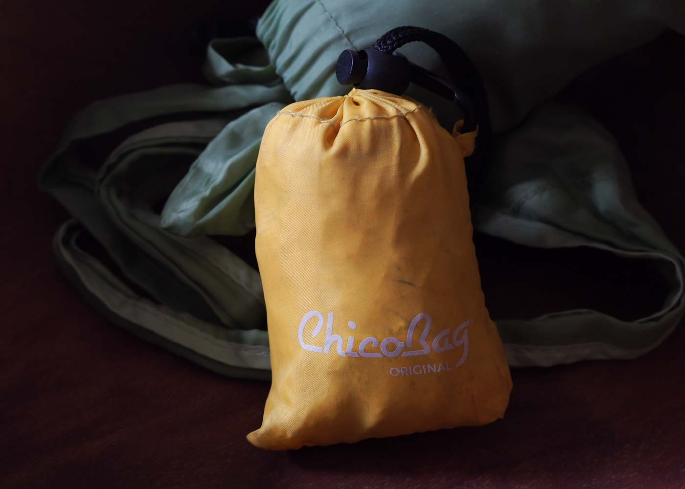 A classic, yellow Chico bag - never forget your reusable bags again.