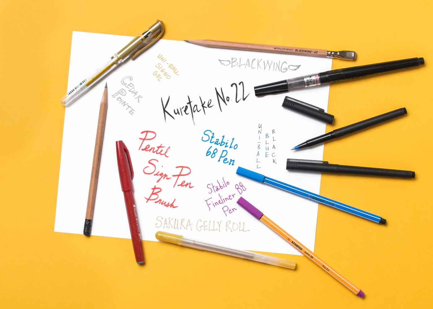A writing sampler for some of our all-time favorite pens and pencils.